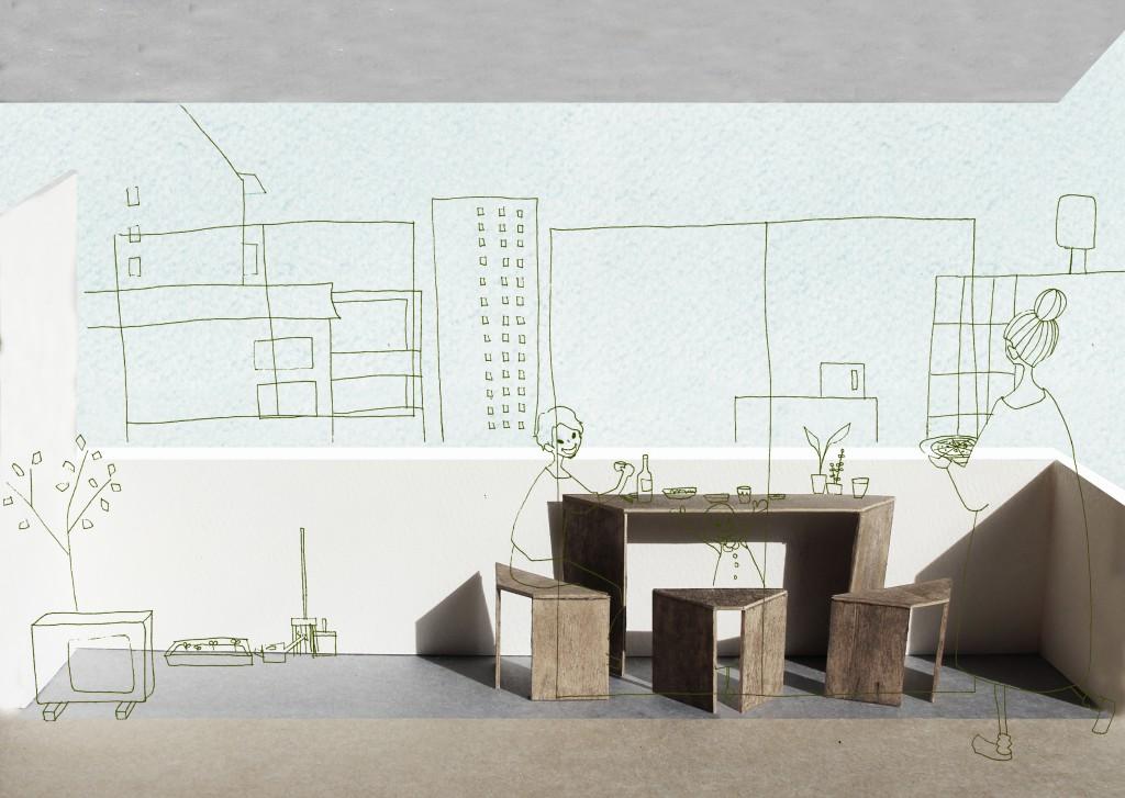 小さな屋上の家具 Furniture for tiny rooftop